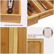 Load image into Gallery viewer, Save on mebbay 5 set bamboo drawer dividers kitchen drawer organizer adjustable drawer divider organizer bamboo wood utensil drawer organizer for kitchen dresser bedroom bathroom with non slip pads