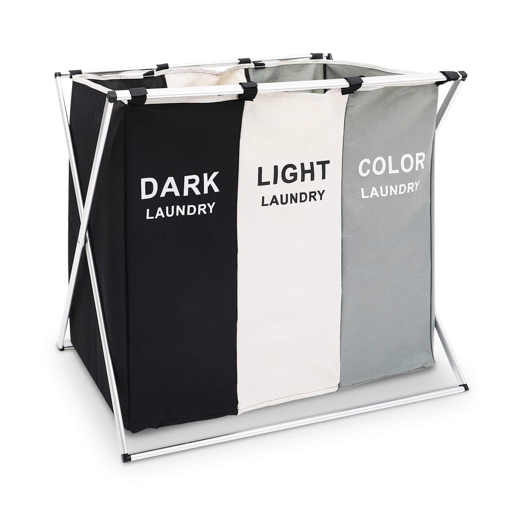 Discover the qf laundry hamper with 3 sections foldable sorter laundry basket for bedroom laundry room bathroom college apartment and closet