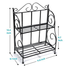 Load image into Gallery viewer, Discover the spice rack ispecle 2 tier foldable shelf rack kitchen bathroom countertop 2 tier standing storage organizer spice jars bottle shelf holder rack black