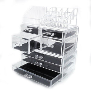 Exclusive offeir us stock clear acrylic stackable cosmetic makeup storage cube organizer jewelry storage drawers case great for bathroom dresser vanity and countertop 3 pieces set 4 small 3 large drawers