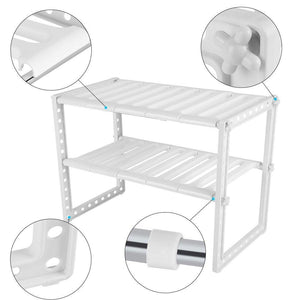 Telescopic Stand Storage Shelf, 2 Tiers Under-sink Organizers Expandable Storage Space Saving for Kitchen Garden Home