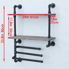 Load image into Gallery viewer, Best industrial towel rack with 3 towel bar 24in rustic bathroom shelves wall mounted 2 tiered farmhouse black pipe shelving wood shelf metal floating shelves towel holder iron distressed shelf over toilet