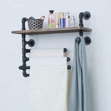 Load image into Gallery viewer, Try industrial towel rack with 3 towel bar 24in rustic bathroom shelves wall mounted farmhouse black pipe shelving wood shelf metal floating shelves towel holder iron distressed shelf over toilet
