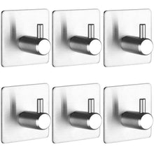 Load image into Gallery viewer, New self adhesive hooks keku 6 pack heavy duty stainless steel bathroom tower hooks for closets coat robe hanger rack wall mount