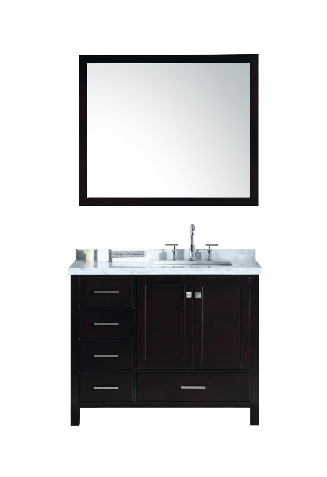 Amazon best ariel cambridge a043s r cwr esp 43 inch right offset single sink bathroom vanity set in espresso with carrara marble countertop rectangular sink