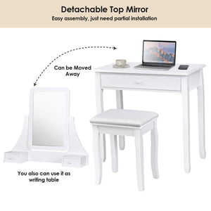 Discover the best giantex bathroom vanity dressing table set 360 rotate mirror pine wood legs padded stool dressing table girls make up vanity set w stool rectangle mirror 3 drawers white