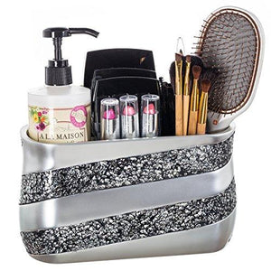 Silver Mosaic Bathroom Counter Vanity Organizer, Countertop Cosmetic Makeup Holder Hair Brush Caddy Hair Accessories Storage, 3-Compartments Decorative Bath Organization (Silver Gray)