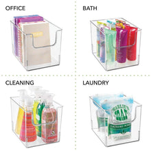 Load image into Gallery viewer, Related mdesign plastic open front bathroom storage organizer basket bin for cabinets shelves countertops bedroom kitchen laundry room closet garage 8 wide 4 pack clear
