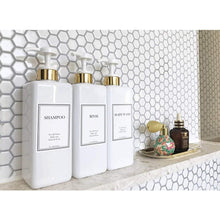 Load image into Gallery viewer, Results harra home modern gold design pump bottle set 27 oz refillable shampoo and conditioner dispenser empty shower plastic bottles with pump for bathroom lotion body wash massage oils pack of 3 white