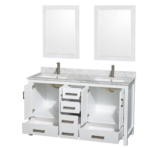 Home wyndham collection sheffield 60 inch double bathroom vanity in white white carrera marble countertop undermount square sinks and 24 inch mirrors