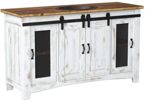 Discover burleson home furnishings 60 inch distressed white farmhouse sliding barn door single sink bathroom vanity fully assembled with copper drop in sink installed 60 inch white