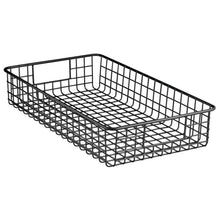Load image into Gallery viewer, Heavy duty mdesign household metal wire cabinet organizer storage organizer bins baskets trays for kitchen pantry pantry fridge closets garage laundry bathroom 16 x 9 x 3 4 pack matte black