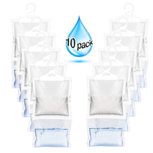 Load image into Gallery viewer, Discover zmfh 10 pack moisture absorber hanging bags no scent max odor eliminator 220g dehumidification bags for closets bathrooms laundry rooms pantries storage