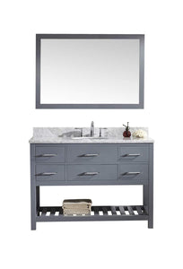 Shop for virtu usa caroline estate 48 inch single sink bathroom vanity set in grey w round undermount sink italian carrara white marble countertop no faucet 1 mirror ms 2248 wmro gr