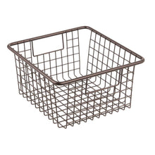 Load image into Gallery viewer, Top rated mdesign farmhouse decor metal wire food storage organizer bin basket with handles for kitchen cabinets pantry bathroom laundry room closets garage 10 25 x 9 25 x 5 25 4 pack bronze