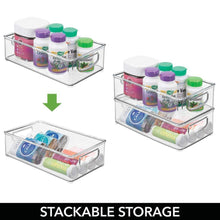 Load image into Gallery viewer, The best mdesign stackable plastic storage organizer container bin with handles for bathroom holds vitamins pills supplements essential oils medical supplies first aid supplies 3 high 8 pack clear