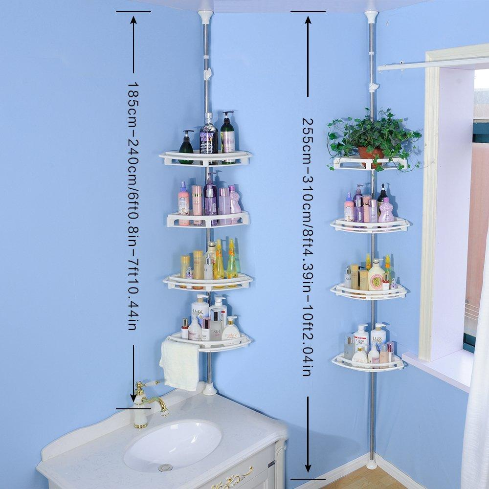 Products baoyouni bathroom shower storage corner caddy tension pole 4 tier bathtub caddies shelf rod organizer rack with towel bar extra large trays ivory