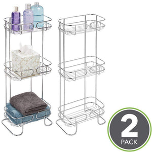 Discover the mdesign rectangular metal bathroom shelf unit free standing vertical storage for organizing and storing hand towels body lotion facial tissues bath salts 3 shelves 2 pack chrome