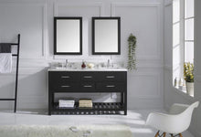 Load image into Gallery viewer, Explore virtu usa caroline estate 60 inch double sink bathroom vanity set in espresso w square undermount sink italian carrara white marble countertop no faucet 2 mirrors md 2260 wmsq es
