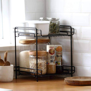 Top aiyoo 2 tier black metal bathroom standing storage organizer countertop kitchen condiment shelf rack for spice cans jars bottle shelf holder rack