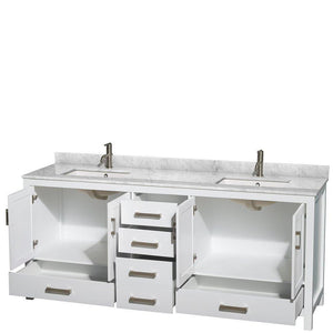 Results wyndham collection sheffield 80 inch double bathroom vanity in white white carrera marble countertop undermount square sinks and no mirror