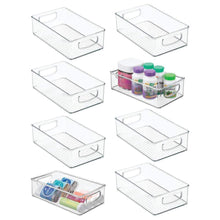 Load image into Gallery viewer, Shop for mdesign stackable plastic storage organizer container bin with handles for bathroom holds vitamins pills supplements essential oils medical supplies first aid supplies 3 high 8 pack clear