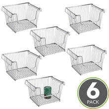 Load image into Gallery viewer, The best mdesign modern stackable metal storage organizer bin basket with handles open front for kitchen cabinets pantry closets bedrooms bathrooms large 6 pack silver