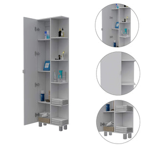 Discover tuhome urano storage cabinet linen cabinet bathroom cabinet with 5 open external storage shelves and 1 cabinet w 3 adjustable shelves
