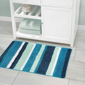 Best seller  mdesign soft microfiber polyester spa rugs for bathroom vanity tub shower water absorbent machine washable plush non slip rectangular accent rug mat striped design set of 3 sizes teal blue