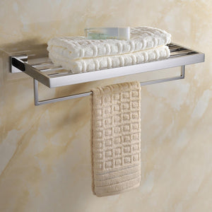 New deluxe 24 inch 304 stainless steel bathroom dual layers towel bar shelves holder chrome polishing mirror polished wall mounted