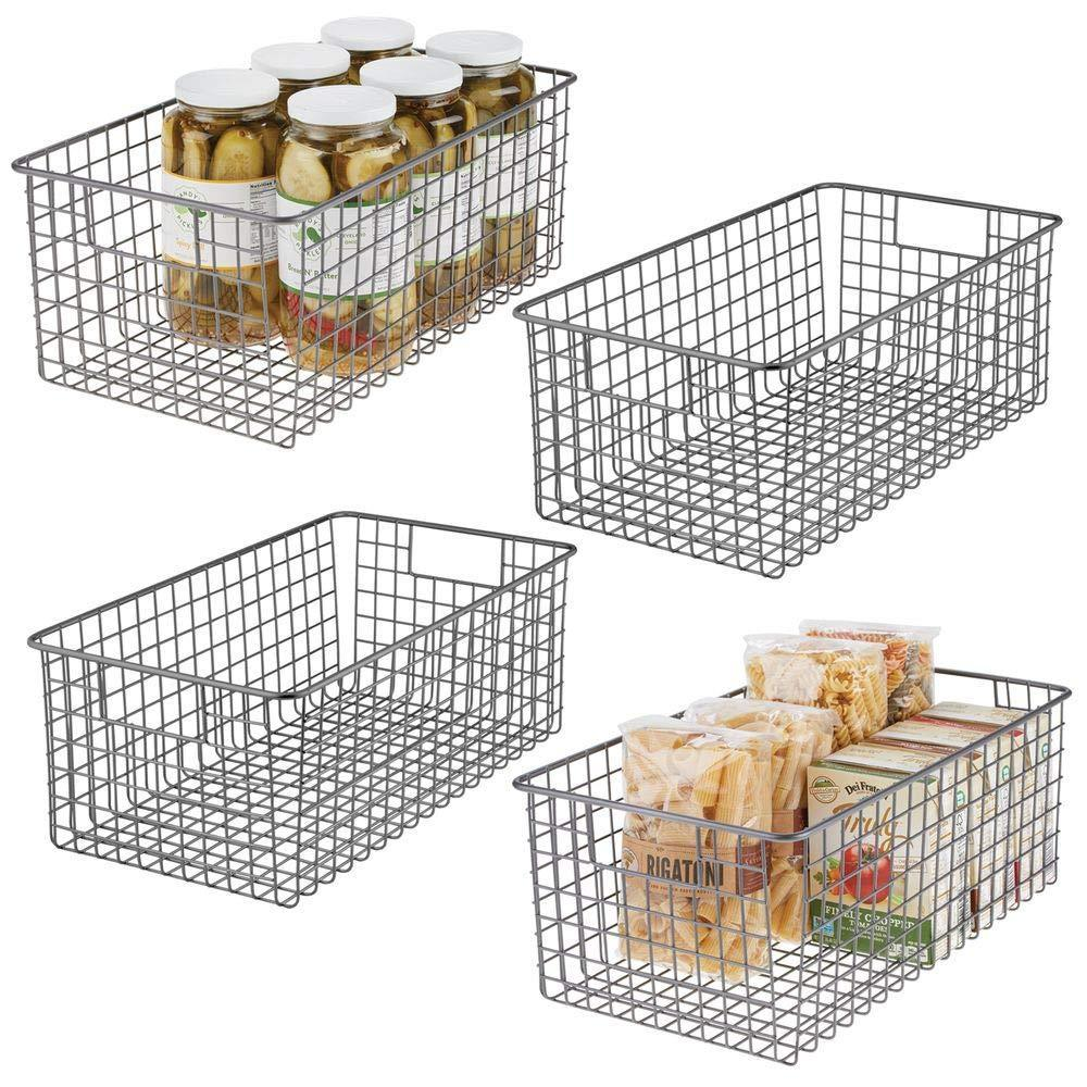 Discover the mdesign farmhouse decor metal wire food organizer storage bin basket with handles for kitchen cabinets pantry bathroom laundry room closets garage 16 x 9 x 6 in 4 pack graphite gray