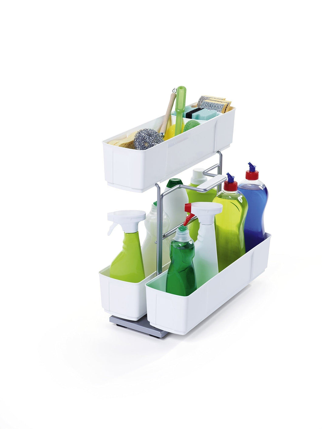 CleaningAGENT Under Sink Organizer | Chrome Steel and White | Sliding Pull-Out Base Cabinet Storage | Removable Carrying Caddy | Dishwasher Safe | Easy Install