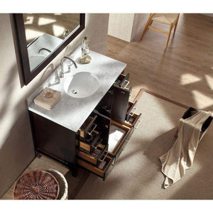 Organize with ariel cambridge a043s esp 43 single sink solid wood bathroom vanity set in espresso with white carrara marble countertop