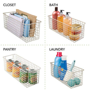 Organize with mdesign farmhouse decor metal wire food storage organizer bin basket with handles for kitchen cabinets pantry bathroom laundry room closets garage 16 x 6 x 6 4 pack satin