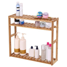 Load image into Gallery viewer, Discover the songmics bamboo bathroom shelves 3 tier adjustable layer rack bathroom towel shelf utility storage shelf rack wall mounted organizer shelf for bathroom kitchen living room holder natural ubcb13y