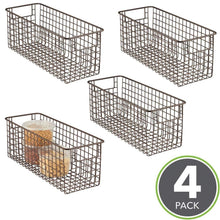 Load image into Gallery viewer, Buy now mdesign farmhouse decor metal wire food storage organizer bin basket with handles for kitchen cabinets pantry bathroom laundry room closets garage 16 x 6 x 6 4 pack bronze