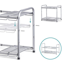 Load image into Gallery viewer, Discover the bextsware under sink shelf organizer 2 tier storage rack with flexible expandable 15 to 27 inches for kitchen bathroom cabinet