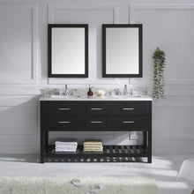 Load image into Gallery viewer, Featured virtu usa caroline estate 60 inch double sink bathroom vanity set in espresso w square undermount sink italian carrara white marble countertop no faucet 2 mirrors md 2260 wmsq es