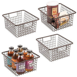 Shop for mdesign farmhouse decor metal wire food storage organizer bin basket with handles for kitchen cabinets pantry bathroom laundry room closets garage 10 25 x 9 25 x 5 25 4 pack bronze