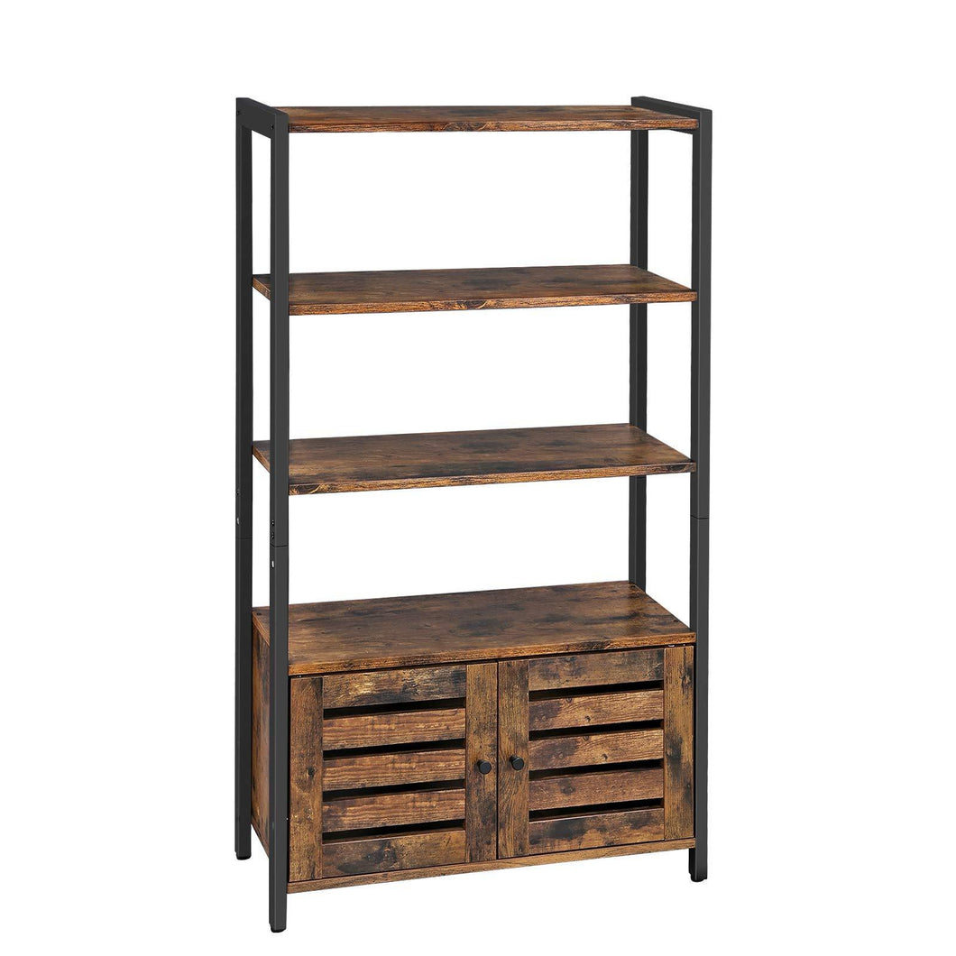 Buy vasagle industrial storage cabinet bookshelf bookcse bathroom floor cabinet with 3 shelves and 2 shutter doors in living room study bedroom multifunctional rustic brown ulsc75bx