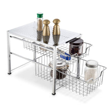 Load image into Gallery viewer, Kitchen bextsware under sink cabinet organizer with 2 tier wire grid sliding drawer multi function stackable mesh storage organizer for kitchen counter desktop bathroomchrome