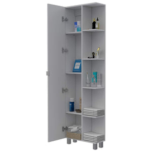 Buy tuhome urano storage cabinet linen cabinet bathroom cabinet with 5 open external storage shelves and 1 cabinet w 3 adjustable shelves