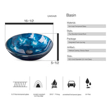 Load image into Gallery viewer, Storage organizer elecwish usba20090 usba20077 bathroom vanity and sink combo stand cabinet and tempered blue glass vessel sink orb faucet and pop up drain mirror mounting ring