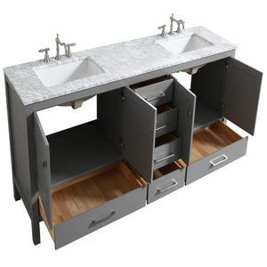 Save eviva evvn412 72gr aberdeen 72 transitional grey bathroom vanity with white carrera countertop double square sinks combination