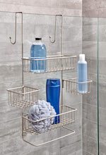 Load image into Gallery viewer, Home idesign metalo bathroom over the door shower caddy with swivel storage baskets for shampoo conditioner soap 22 7 x 10 5 x 8 2 satin