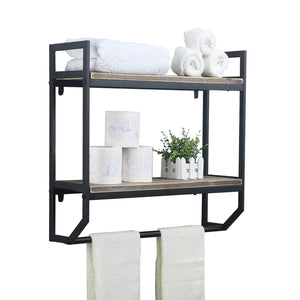 Discover the 2 tier metal industrial 23 6 bathroom shelves wall mounted rustic wall shelf over toilet towel rack with towel bar utility storage shelf rack floating shelves towel holder black brush silver