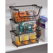 Load image into Gallery viewer, Select nice mdesign modern farmhouse metal wire household stackable storage organizer bin basket with handles for kitchen cabinets pantry closets bathrooms 12 5 wide 6 pack bronze