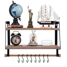 Load image into Gallery viewer, Home kakivan 2 tier floating shelves wall mount for kitchen spice rack with 8 hooks storage rustic farmhouse wood wall shelf for bathroom decor with towel bar