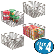 Load image into Gallery viewer, Exclusive mdesign farmhouse decor metal wire food storage organizer bin basket with handles for kitchen cabinets pantry bathroom laundry room closets garage 12 x 9 x 6 4 pack bronze