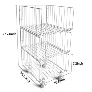Exclusive pup joint metal wire baskets 3 tiers foldable stackable rolling baskets utility shelf unit storage organizer bin with wheels for kitchen pantry closets bedrooms bathrooms
